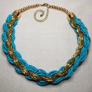 Braided Turquois Seed & Gold Bangle Bead Necklace